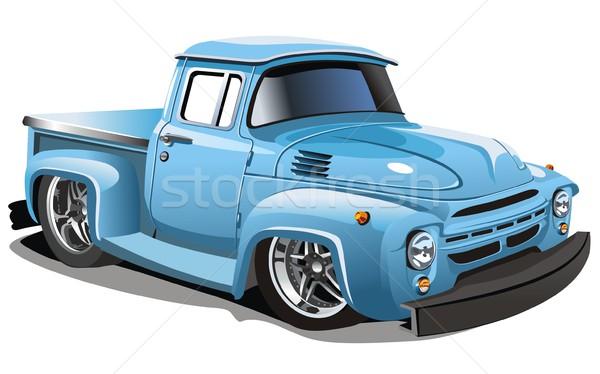 Stock photo:  Vector cartoon hotrod truck