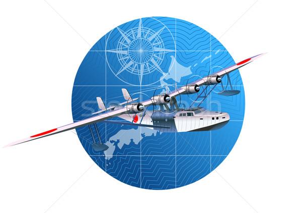 Retro wereldbol landschap achtergrond kompas silhouet Stockfoto © mechanik