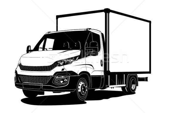 Сток-фото: вектора · грузовика · шаблон · изолированный · белый