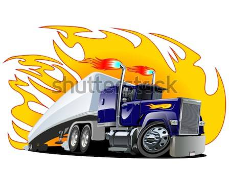 Vector Cartoon Semi Truck. One-click repaint Stock photo © mechanik