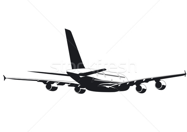 silhouette of passenger jetliner a380 Stock photo © mechanik