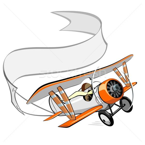 Cartoon биплан баннер самолет скорости смешные Сток-фото © mechanik