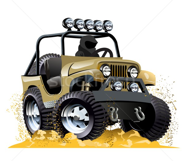 Cartoon jeep geïsoleerd witte eps10 vector Stockfoto © mechanik