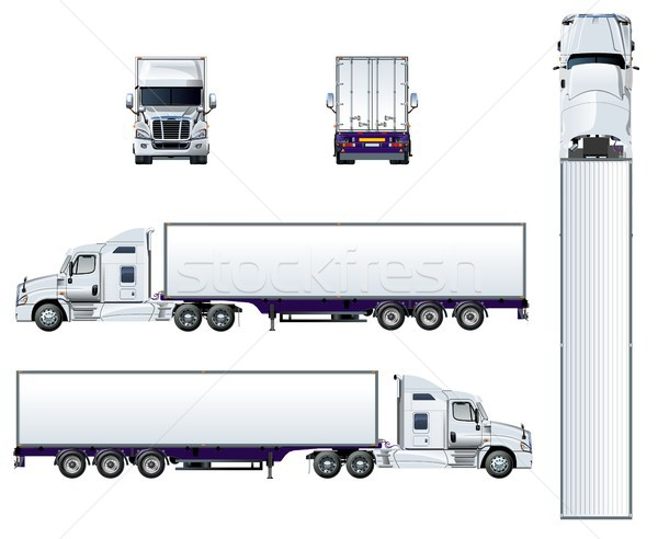 Stock photo: Vector semi truck template isolated on white