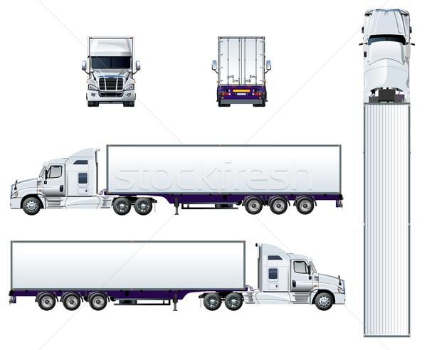 Vector semi truck template isolated on white Stock photo © mechanik