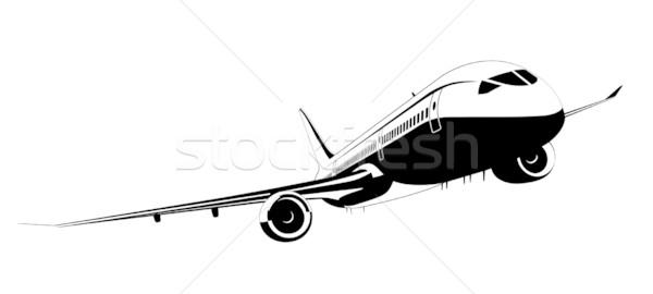 Detalhado silhueta avião avião asas ar Foto stock © mechanik