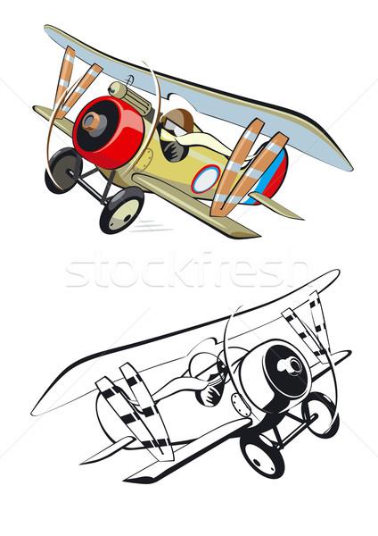 Rajz kétfedelű repülőgép művészet zöld háború festmény Stock fotó © mechanik