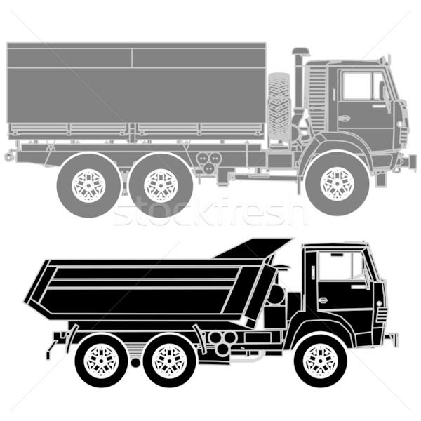 Detailed Vector trucks silhouettes set Stock photo © mechanik