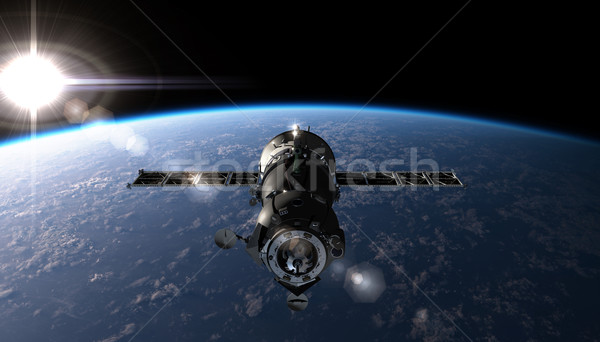 Spaceship on the orbit Stock photo © mechanik