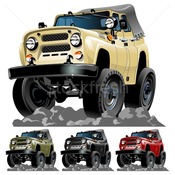 Zdjęcia stock: Wektora · cartoon · jeep · jeden · kliknij · eps10