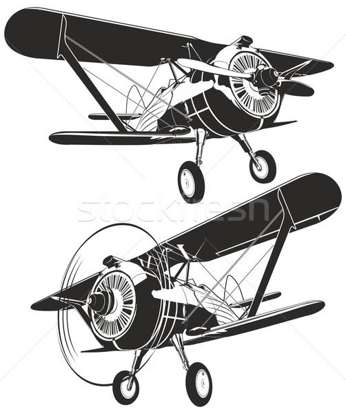 Vector retro biplane Stock photo © mechanik