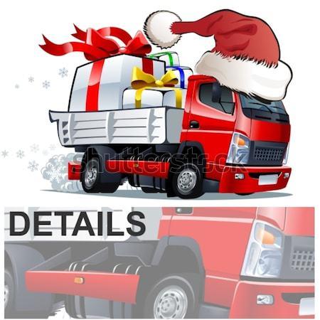 Vector cartoon Christmas truck Stock photo © mechanik