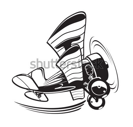Vektor rajz kétfedelű repülőgép eps10 formátum csoportok Stock fotó © mechanik