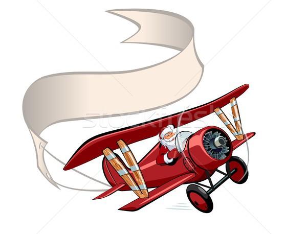 Сток-фото: Cartoon · ретро · Рождества · самолет · баннер · вектора