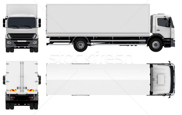 Stock fotó: Házhozszállítás · teher · teherautó · izolált · fehér · autó
