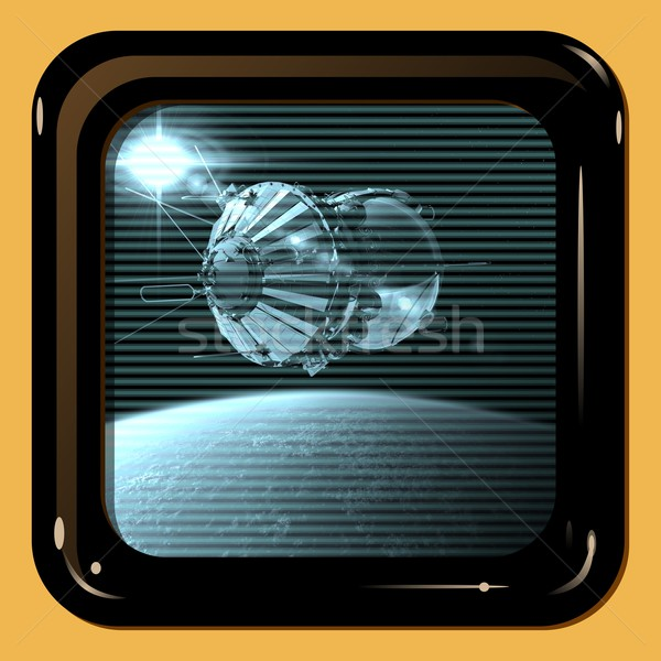 Retro TV display with first spaceship Stock photo © mechanik
