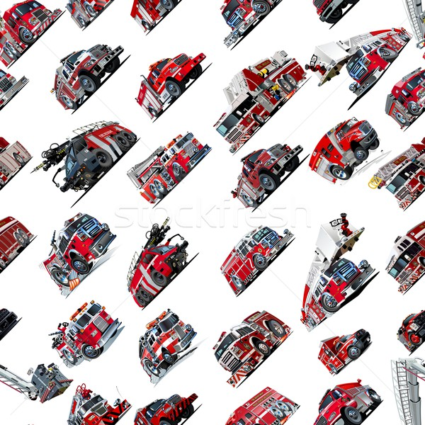 Cartoon Fire Truck seamless pattern Stock photo © mechanik