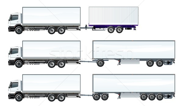 Stock photo: Vector road trains set template isolated on white