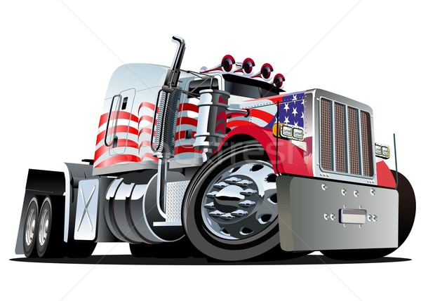 Stock photo: Vector cartoon semi truck