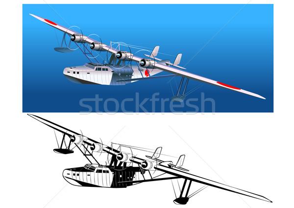 Retro watervliegtuig 30s achtergrond silhouet tropische Stockfoto © mechanik