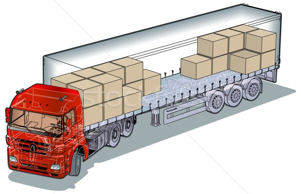 Vector cargo semi-truck infographics cutaway Stock photo © mechanik