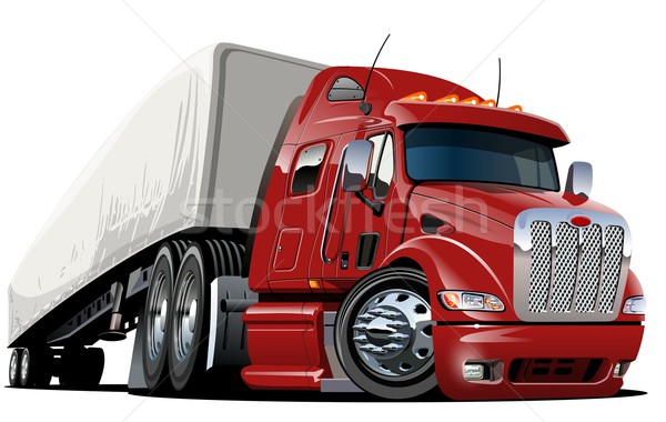 Stock photo: Vector cartoon semi truck. one-click repaint