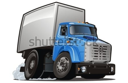 Stockfoto: Vector · cartoon · levering · vracht · vrachtwagen · eps8