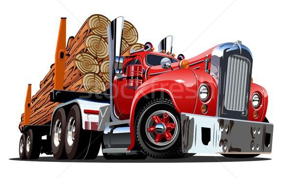 Cartoon retro logging truck Stock photo © mechanik