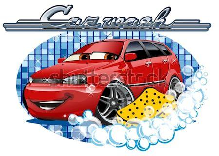 Carro lavagem assinar esponja eps10 vetor Foto stock © mechanik