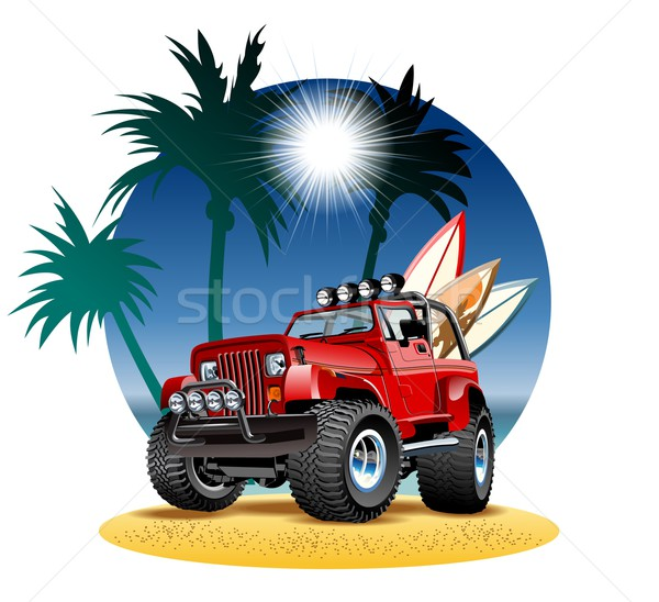 Vector cartoon jeep strand 4x4 auto Stockfoto © mechanik