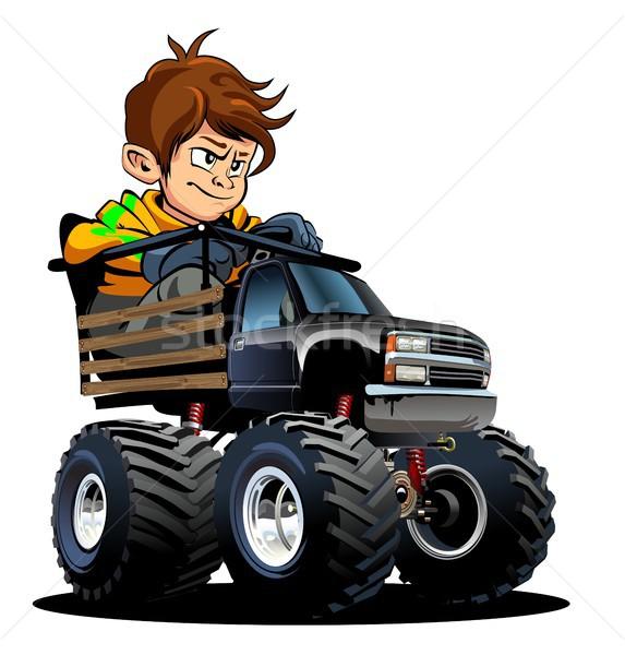 Stock fotó: Rajz · szörny · teherautó · sofőr · vektor · izolált