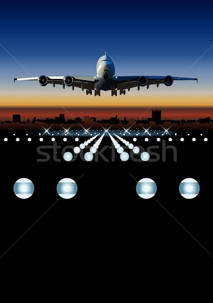 Airliner landing at skyline Stock photo © mechanik