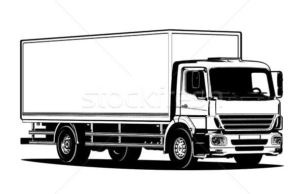 ベクトル トラック テンプレート 孤立した 白 ストックフォト © mechanik