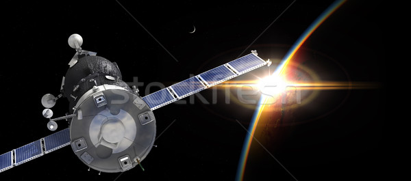 űrhajó pálya Föld égbolt naplemente háttér Stock fotó © mechanik