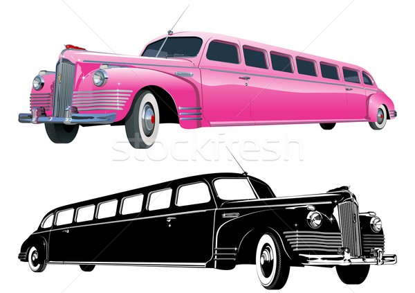 Vector long vintage limo and monochrome version Stock photo © mechanik