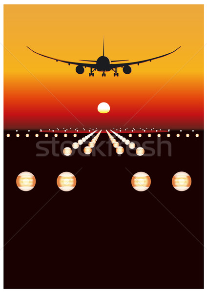 landing at sunset Stock photo © mechanik
