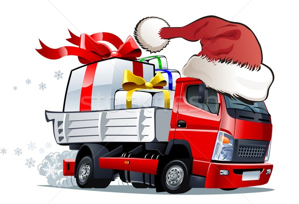 Stockfoto: Vector · cartoon · christmas · vrachtwagen · levering · formaat
