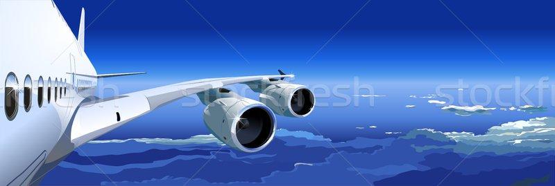 Céu azul avião linha do horizonte pintura acelerar Foto stock © mechanik