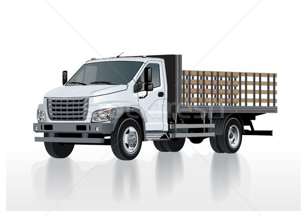 Vector flatbed truck template isolated on white Stock photo © mechanik