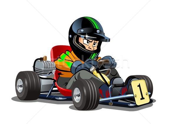 Cartoon kart racer isolated on white background Stock photo © mechanik