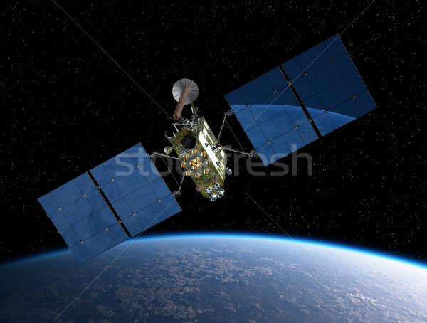Moderno navegação satélite nuvens terra espaço Foto stock © mechanik