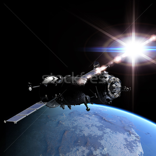 Spaceship at the Earth orbit Stock photo © mechanik