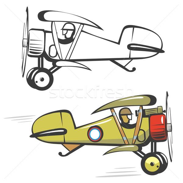 Rajz kétfedelű repülőgép eps művészet zöld repülőgép Stock fotó © mechanik