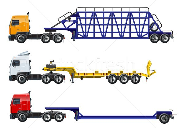 Vector semi trucks set isolated on white Stock photo © mechanik