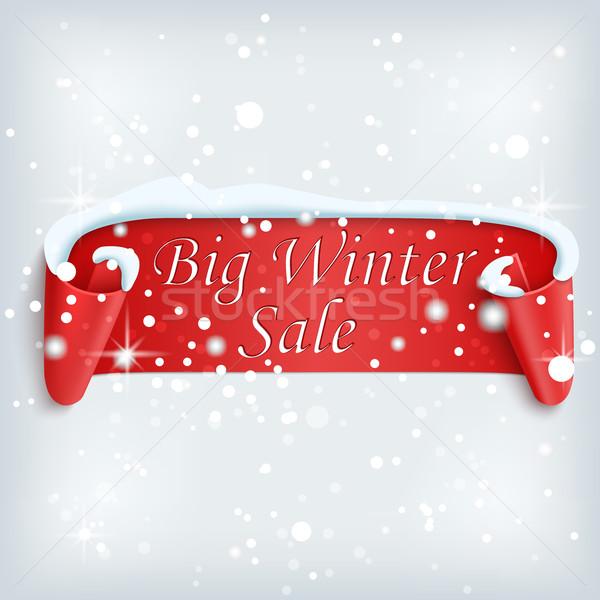 Büyük kış satış poster kırmızı kâğıt Stok fotoğraf © Mediaseller