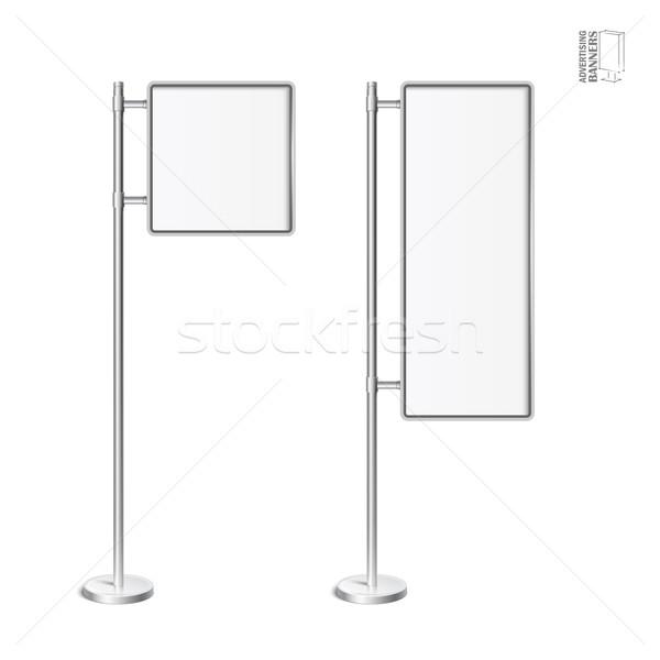 Vektor Licht Feld chrom stehen Set Stock foto © Mediaseller