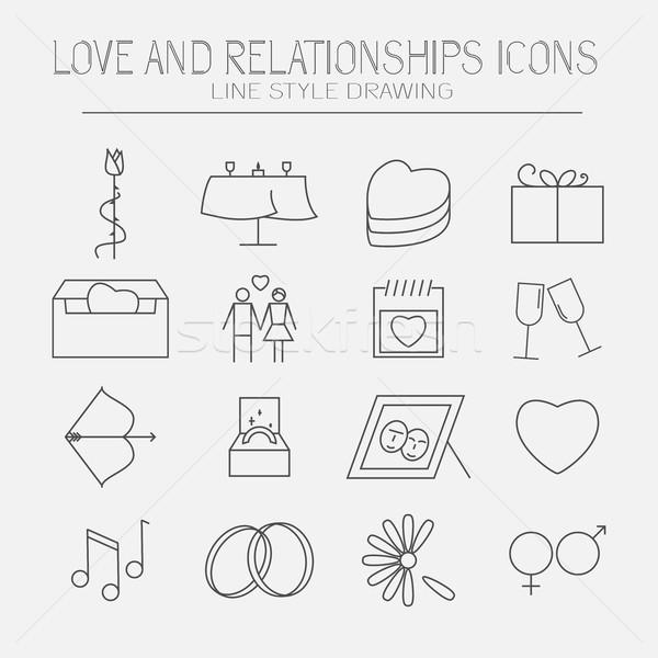 Zestaw miłości ikona nowoczesne stosunku line Zdjęcia stock © Mediaseller