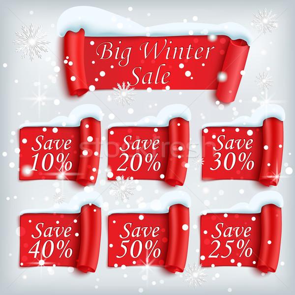 Duży zimą sprzedaży plakat naklejki zestaw Zdjęcia stock © Mediaseller