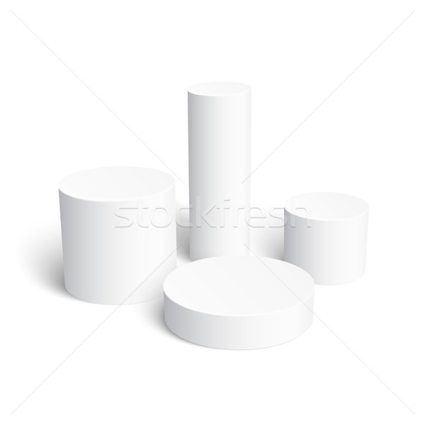 Zestaw realistyczny biały cylinder odizolowany doskonały Zdjęcia stock © Mediaseller