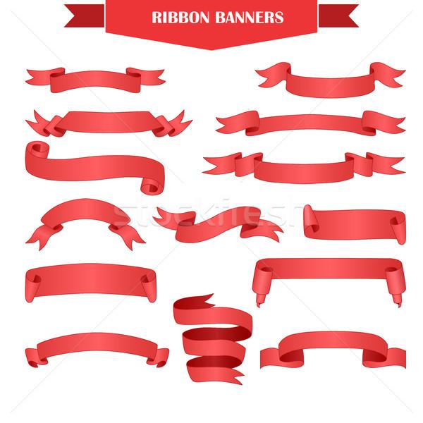 şerit afiş ayarlamak gerçekçi kırmızı eğim Stok fotoğraf © Mediaseller